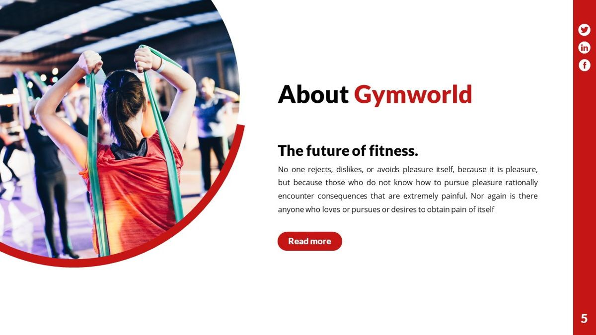 Gymworld - Fitness Powerpoint Template, Slide 6, 06275, Data Driven Diagrams and Charts — PoweredTemplate.com