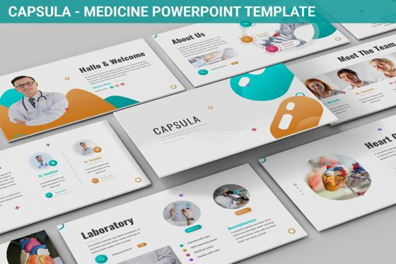 Data Driven Diagrams and Charts: Capsula - Medicine Powerpoint Template #06281