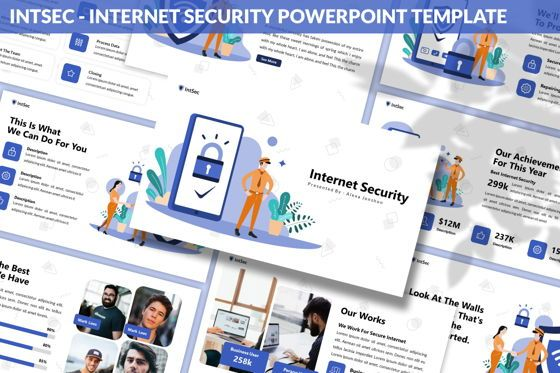 Data Driven Diagrams and Charts: Intsec - Internet Security Powerpoint Template #06282