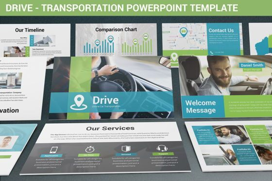 Data Driven Diagrams and Charts: Drive - Transportation Powerpoint Template #06288