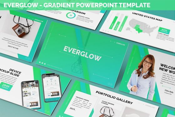 Data Driven Diagrams and Charts: Everglow - Gradient Powerpoint Template #06291