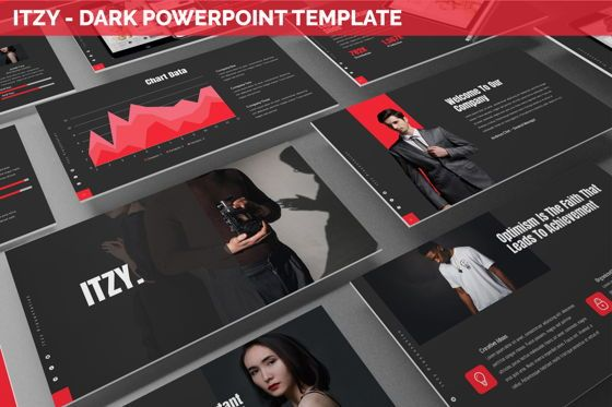 Data Driven Diagrams and Charts: Itzy - Dark Powerpoint Template #06292