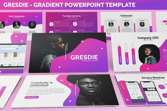 Business Models: Gresdie - Gradient Abstract Powerpoint Template #06293