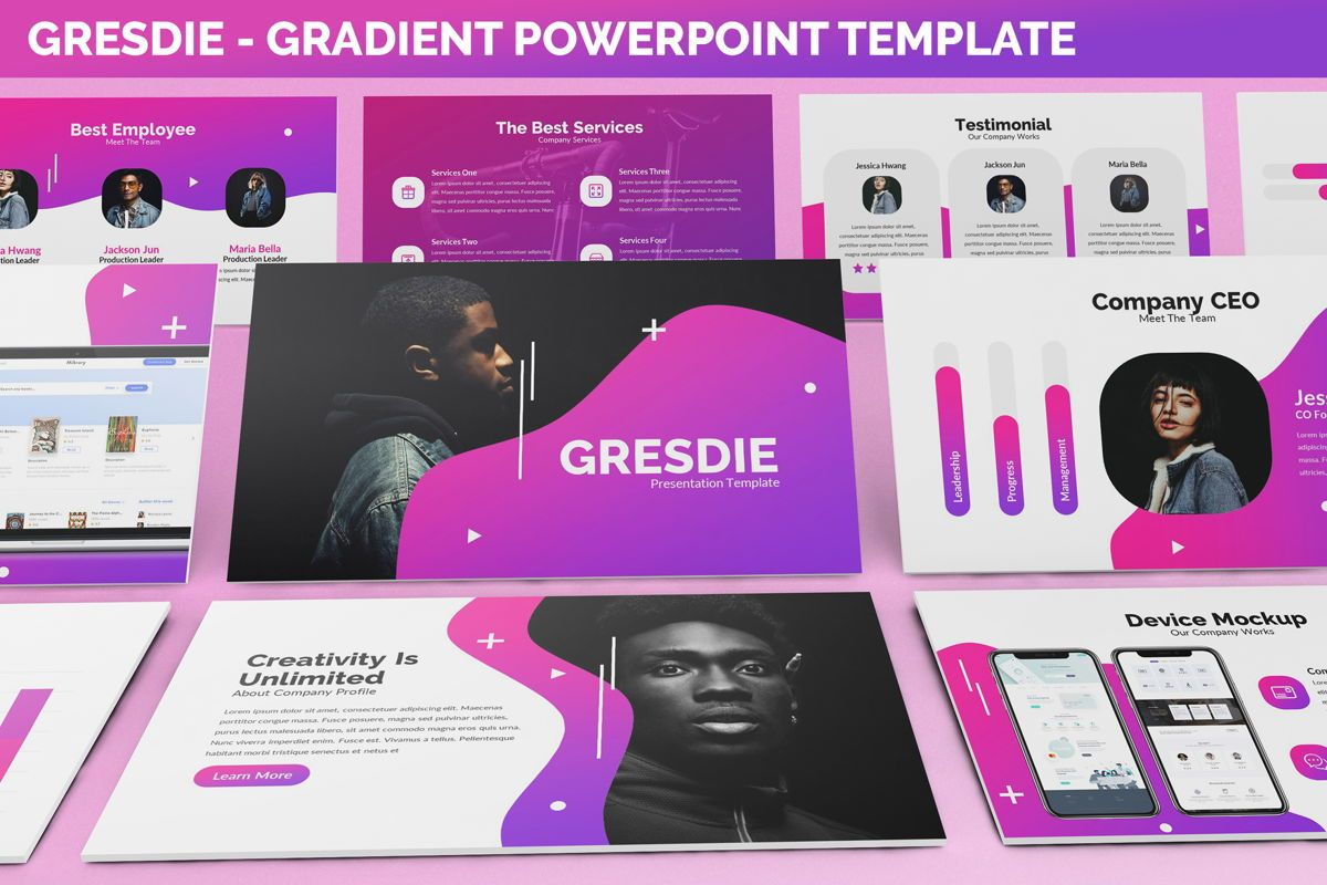 Gresdie - Gradient Abstract Powerpoint Template, 06293, Business Models — PoweredTemplate.com