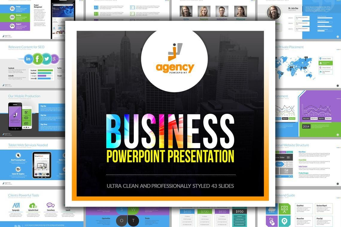 Agency PowerPoint Presentation Template, 06296, Infographics — PoweredTemplate.com