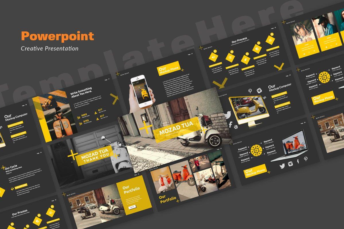 Mozad Tua Creative Powerpoint, 06312, Presentation Templates — PoweredTemplate.com