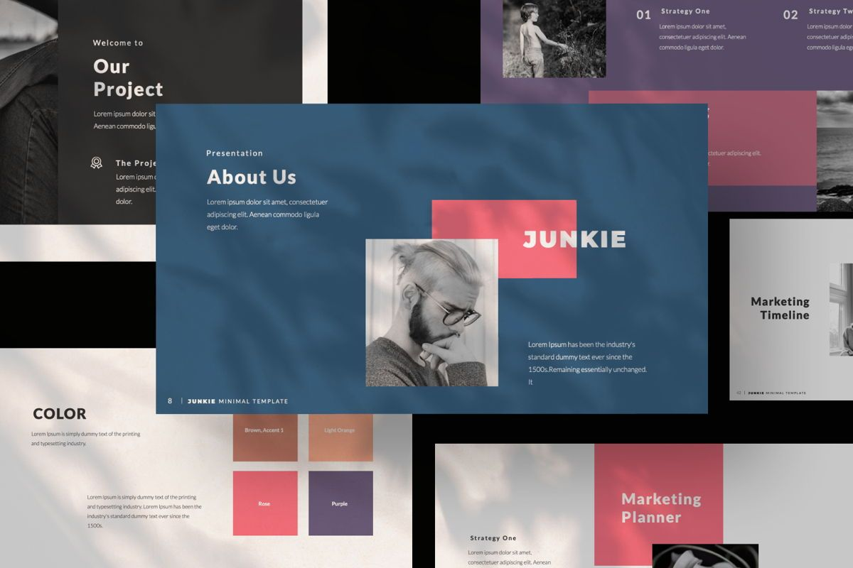 Junkie Creative Keynote, Slide 10, 06326, Presentation Templates — PoweredTemplate.com