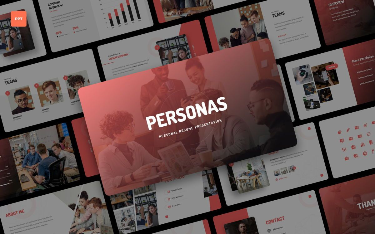 Personas - Personal Portfolio Power Point, 06328, Presentation Templates — PoweredTemplate.com
