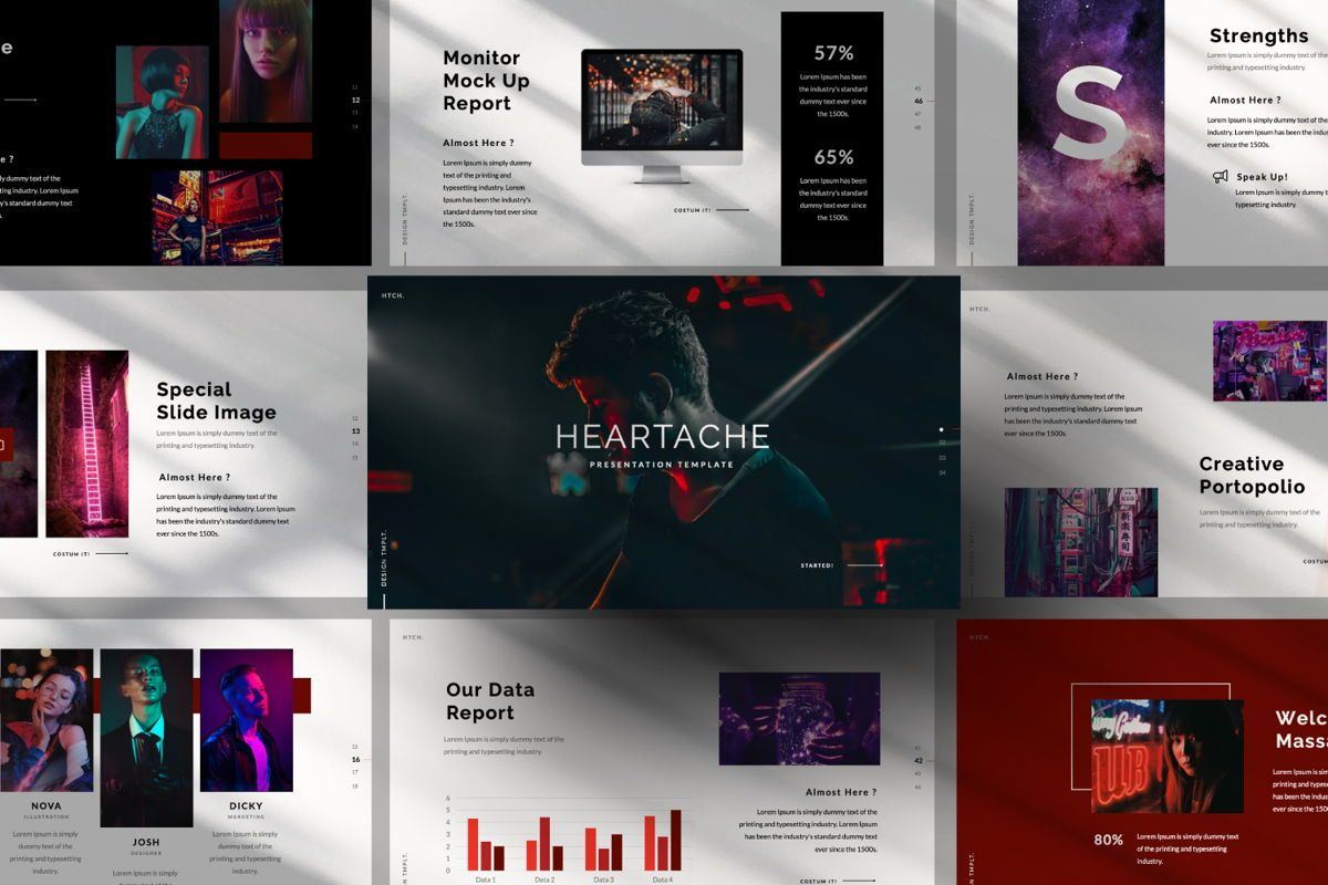 Heartache Creative Google Slide, 06332, Presentation Templates — PoweredTemplate.com