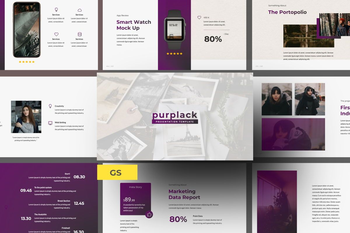 Purplack Creative Google Slide, 06361, Presentation Templates — PoweredTemplate.com