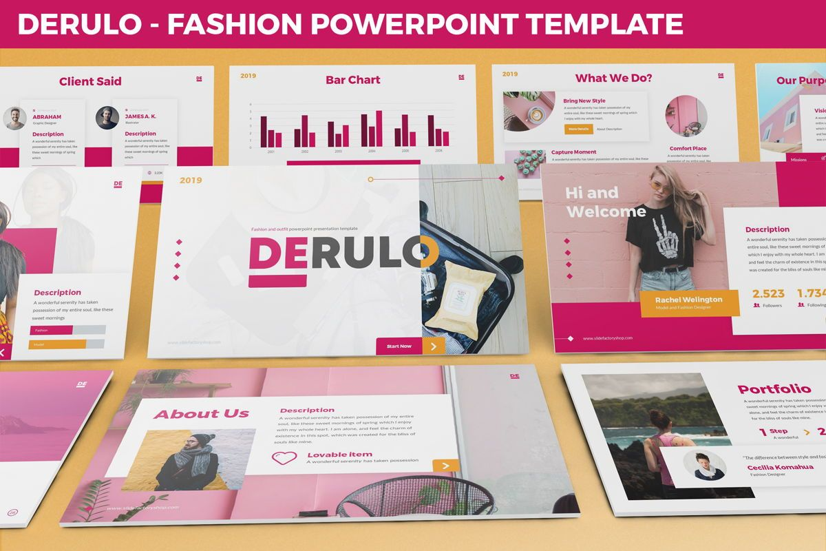 Derulo - Fashion Powerpoint Template, 06371, Data Driven Diagrams and Charts — PoweredTemplate.com