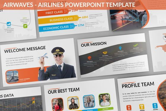 Business Models: Airwaves - Airlines Powerpoint Template #06372