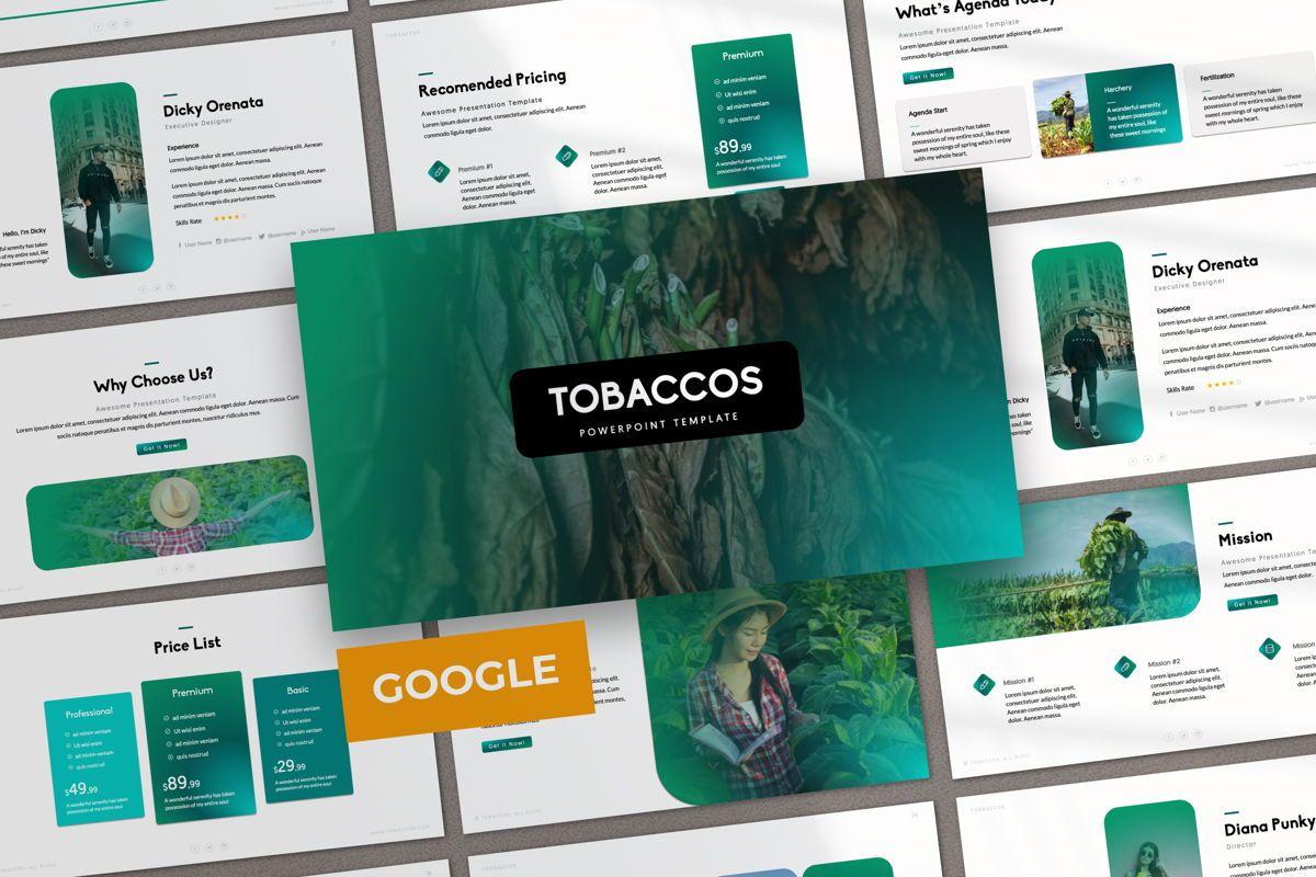 Tobaccos Creative Google Slide, 06382, Presentation Templates — PoweredTemplate.com