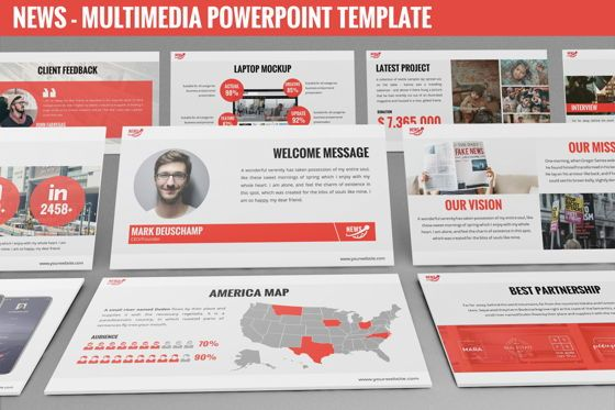 Data Driven Diagrams and Charts: News - Multimedia Powerpoint Template #06400