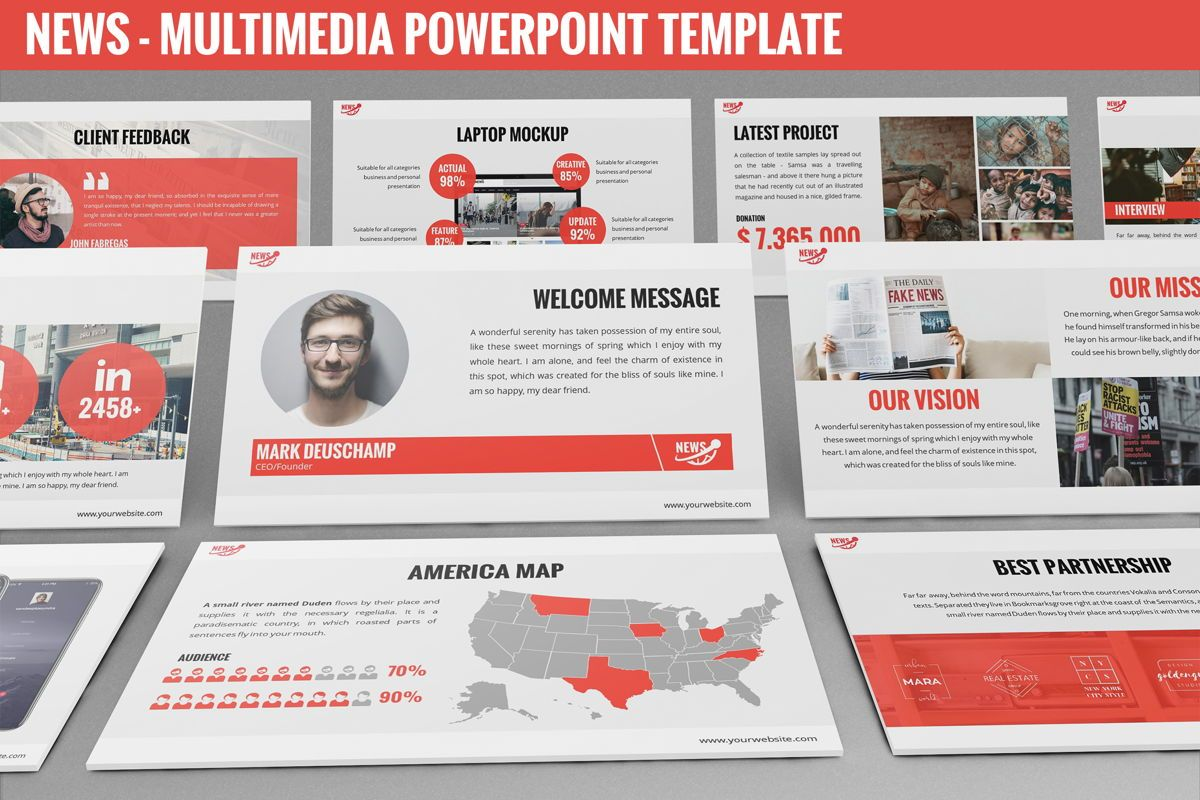 News - Multimedia Powerpoint Template, 06400, Data Driven Diagrams and Charts — PoweredTemplate.com