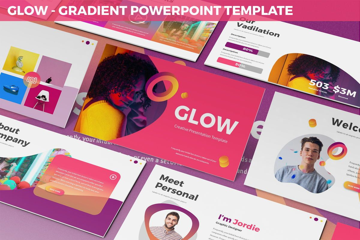 Glow - Gradient Powerpoint Template, 06402, Data Driven Diagrams and Charts — PoweredTemplate.com