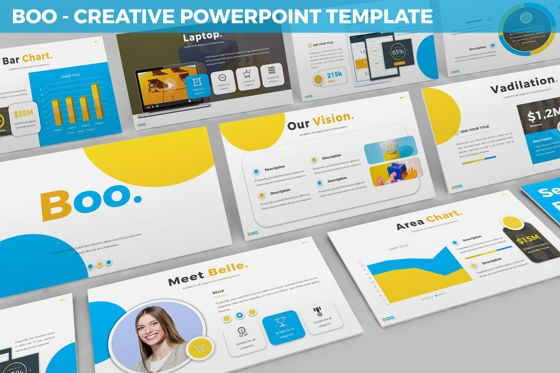 Data Driven Diagrams and Charts: Boo - Multipurpose Creative Powerpoint Template #06403