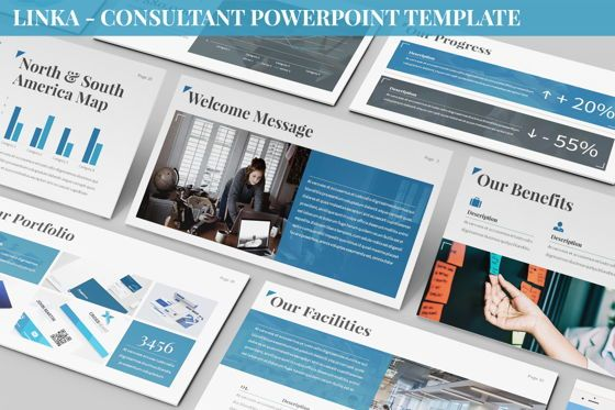 Business Models: Linka - Consultant Powerpoint Template #06404
