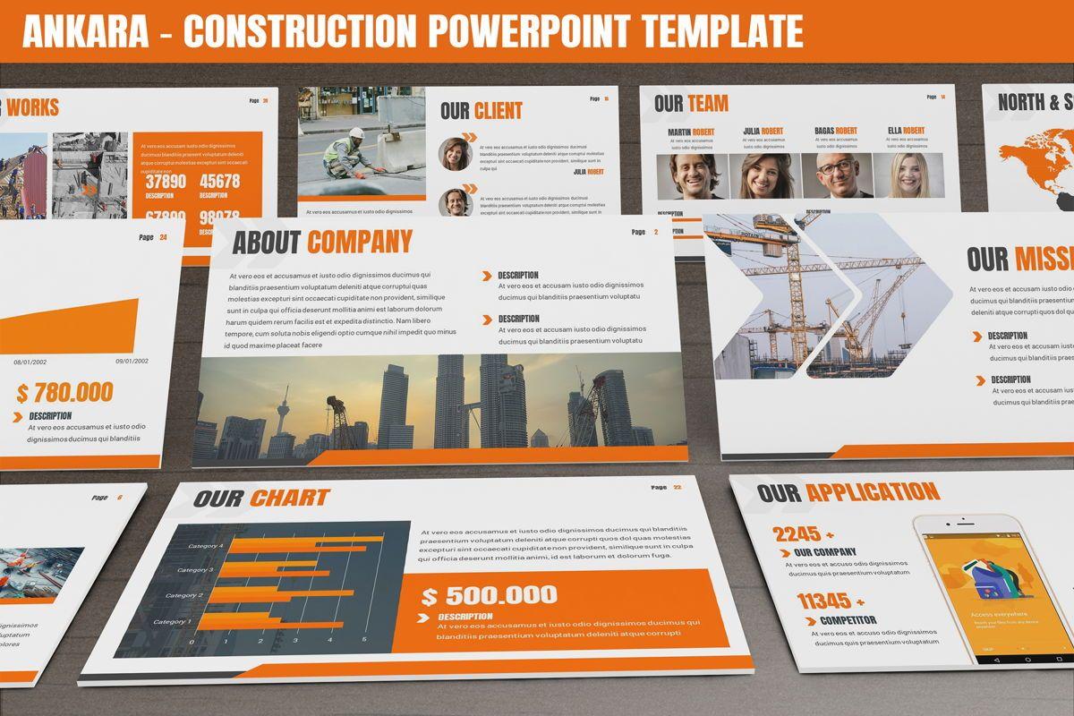 Ankara - Construction Powerpoint Template, 06405, Data Driven Diagrams and Charts — PoweredTemplate.com