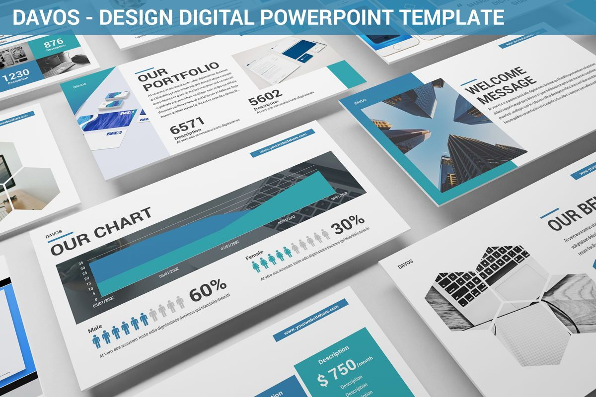 Davos - Design Digital Powerpoint Template, 06406, Data Driven Diagrams and Charts — PoweredTemplate.com