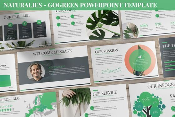 Data Driven Diagrams and Charts: Naturalies - GoGreen Powerpoint Template #06407