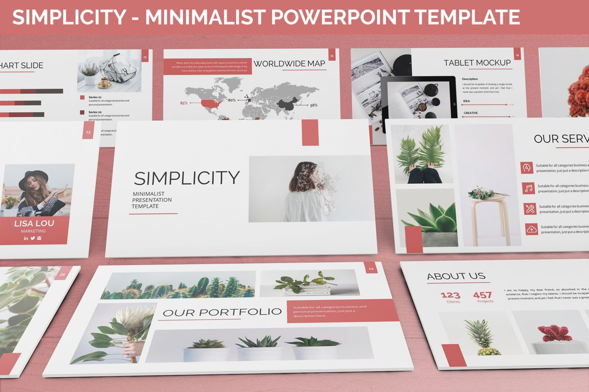 Simplycity - Minimalist Powerpoint Template, 06408, Data Driven Diagrams and Charts — PoweredTemplate.com