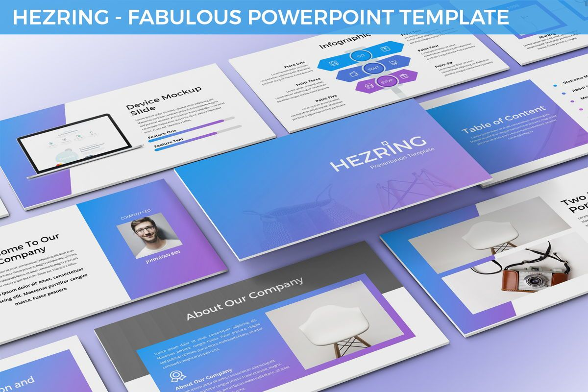 Hezring - Fabulous Powerpoint Template, 06411, Data Driven Diagrams and Charts — PoweredTemplate.com