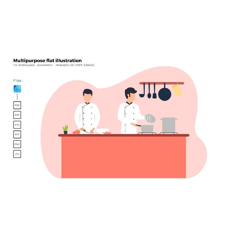 Flat illustration cooking, 06417, Infographics — PoweredTemplate.com