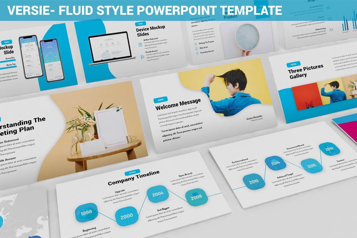 Versie - Fluid Style Powerpoint Template, 06418, Business Models — PoweredTemplate.com