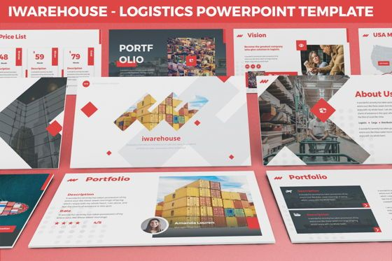 Data Driven Diagrams and Charts: iWarehouse - Logistics Powerpoint Template #06428