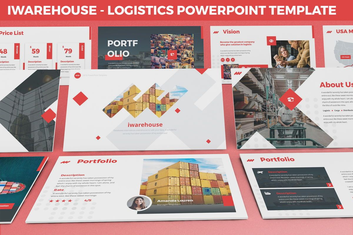 iWarehouse - Logistics Powerpoint Template, 06428, Data Driven Diagrams and Charts — PoweredTemplate.com