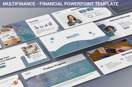 Data Driven Diagrams and Charts: MultiFinance - Financial Powerpoint Template #06429
