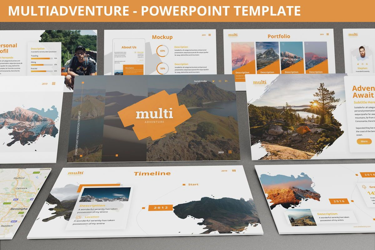 MultiAdventure - Powerpoint Template, 06430, Data Driven Diagrams and Charts — PoweredTemplate.com