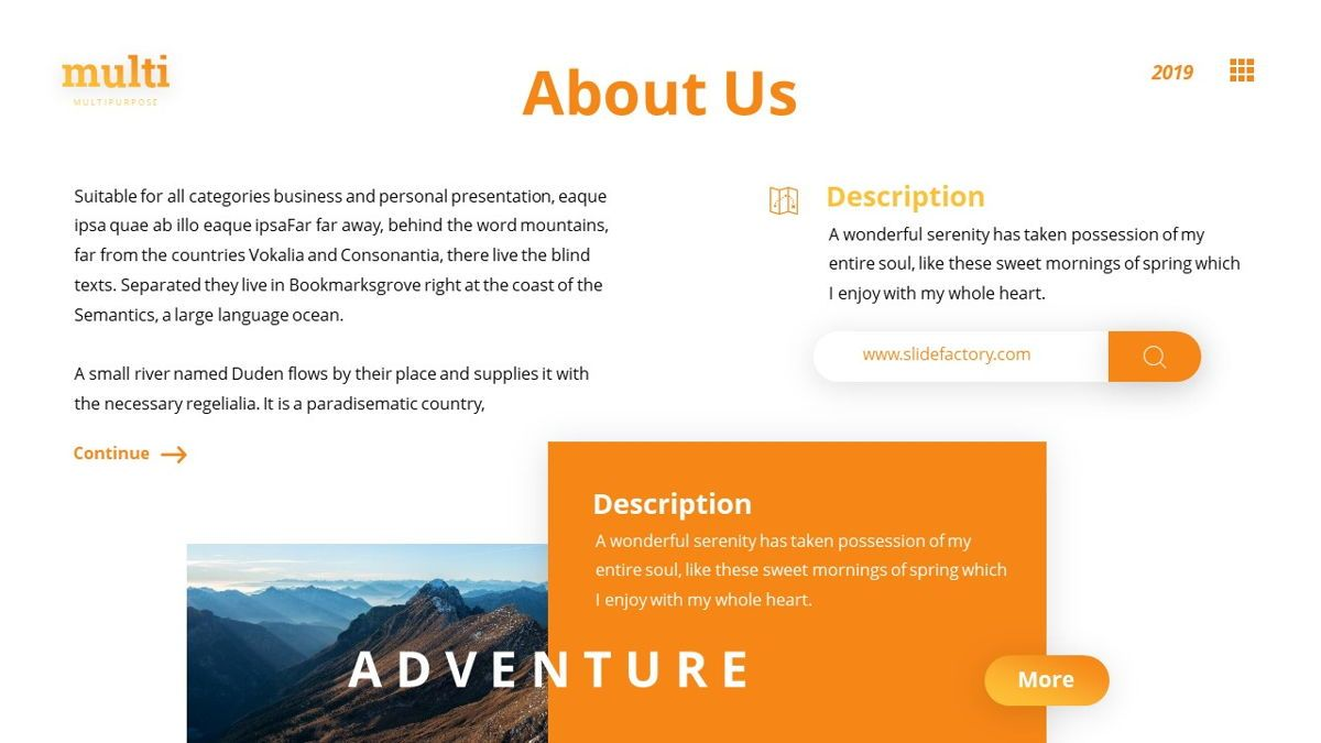 MultiAdventure - Powerpoint Template, Slide 5, 06430, Data Driven Diagrams and Charts — PoweredTemplate.com