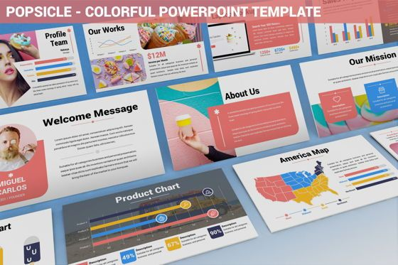 Data Driven Diagrams and Charts: Popsicle - Colorful Powerpoint Template #06433