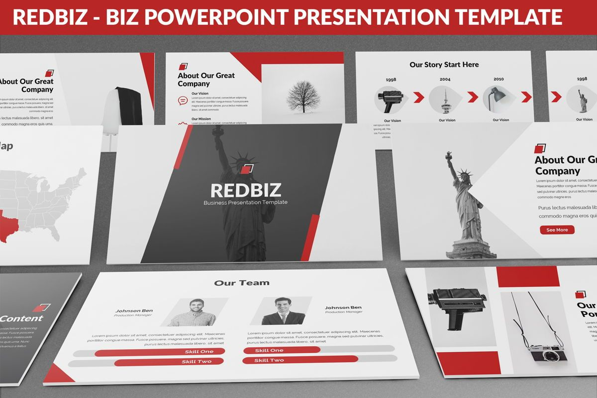 Redbiz - Biz Powerpoint Presentation Template, 06435, Data Driven Diagrams and Charts — PoweredTemplate.com