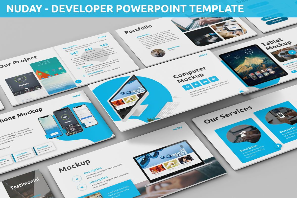 Nuday - Developer Powerpoint Template, 06439, Data Driven Diagrams and Charts — PoweredTemplate.com