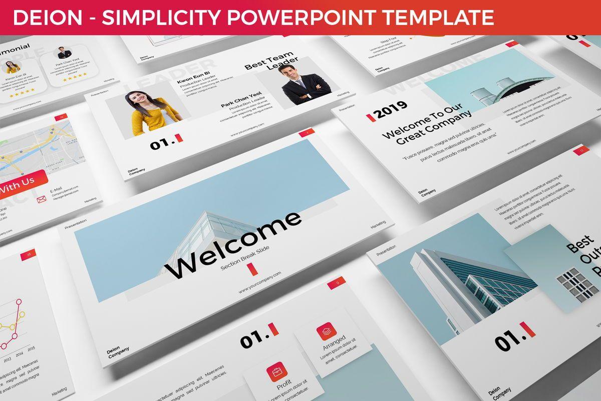 Deion - Simplicity Powerpoint Template, 06440, Business Models — PoweredTemplate.com