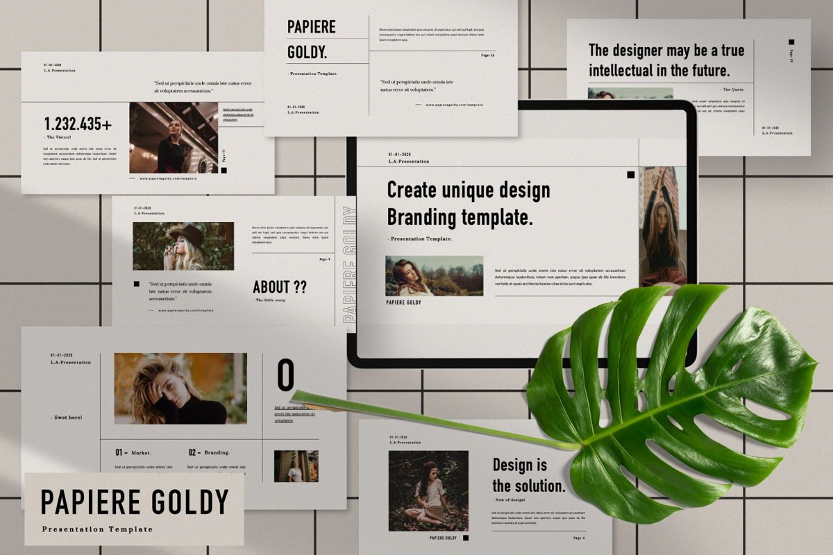 Papiere Goldy Creative Powerpoint, 06446, Presentation Templates — PoweredTemplate.com