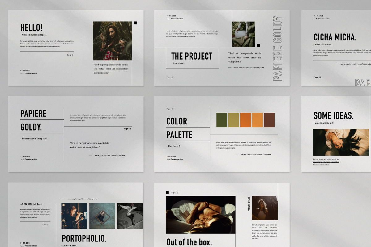 Papiere Goldy Creative Powerpoint, Slide 7, 06446, Presentation Templates — PoweredTemplate.com