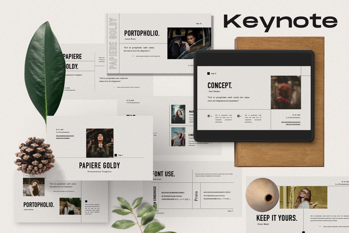 Papiere Goldy Creative Keynote, 06447, Presentation Templates — PoweredTemplate.com
