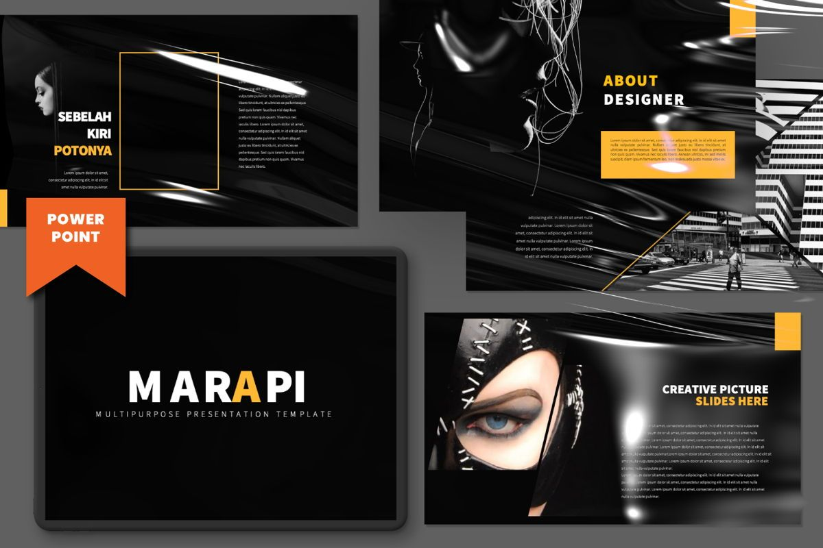 Marapi Creative Powerpoint, 06501, Presentation Templates — PoweredTemplate.com
