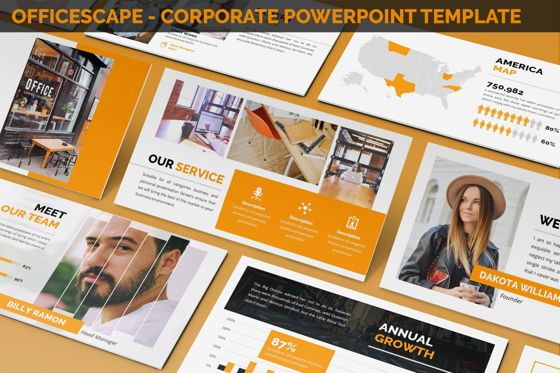 Business Models: Officescape - Corporate Powerpoint Template #06507