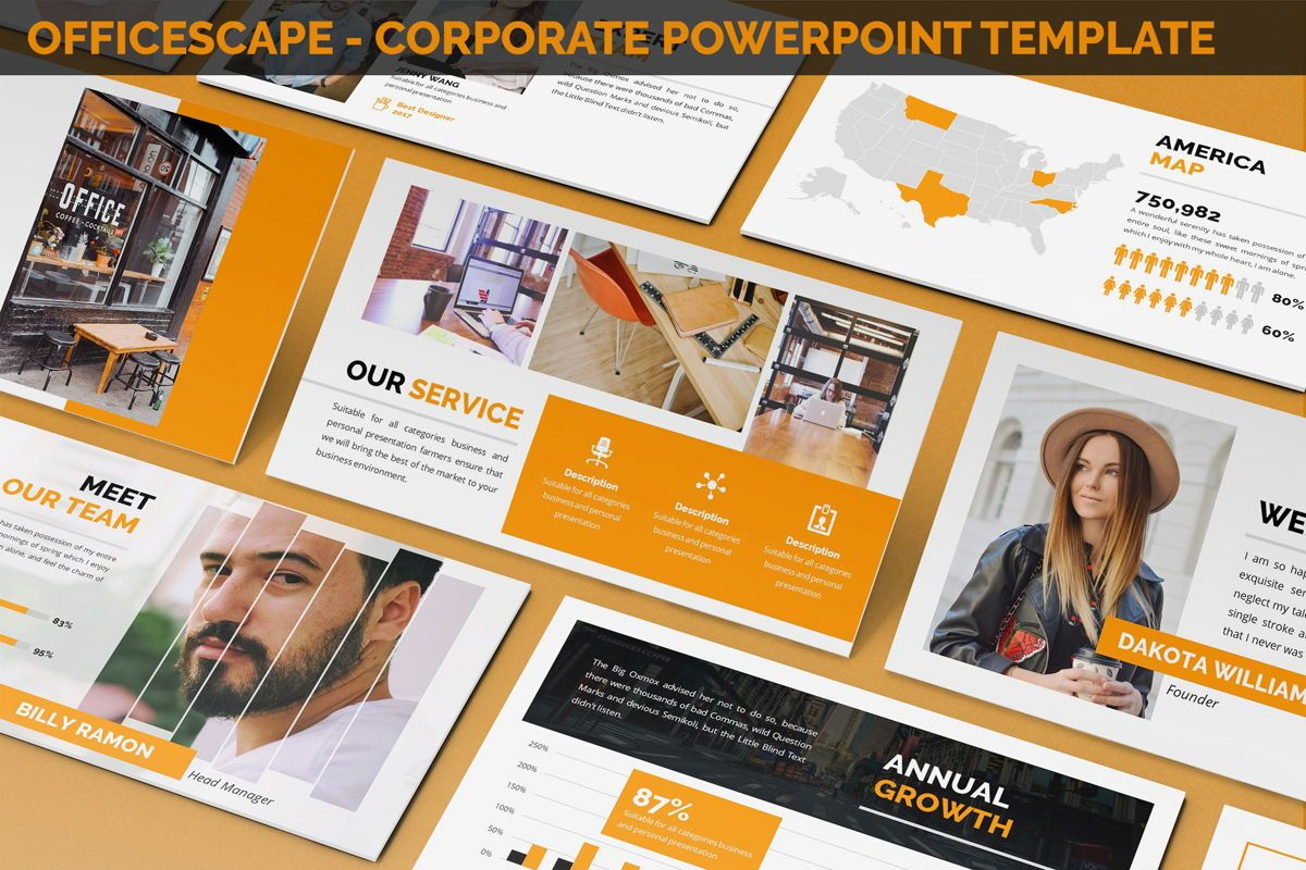 Officescape - Corporate Powerpoint Template, 06507, Business Models — PoweredTemplate.com