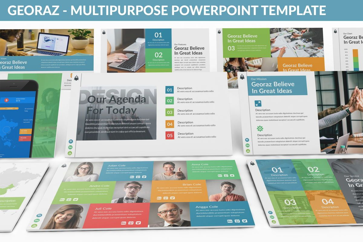 Georaz - Multipurpose Powerpoint Template, 06511, Data Driven Diagrams and Charts — PoweredTemplate.com
