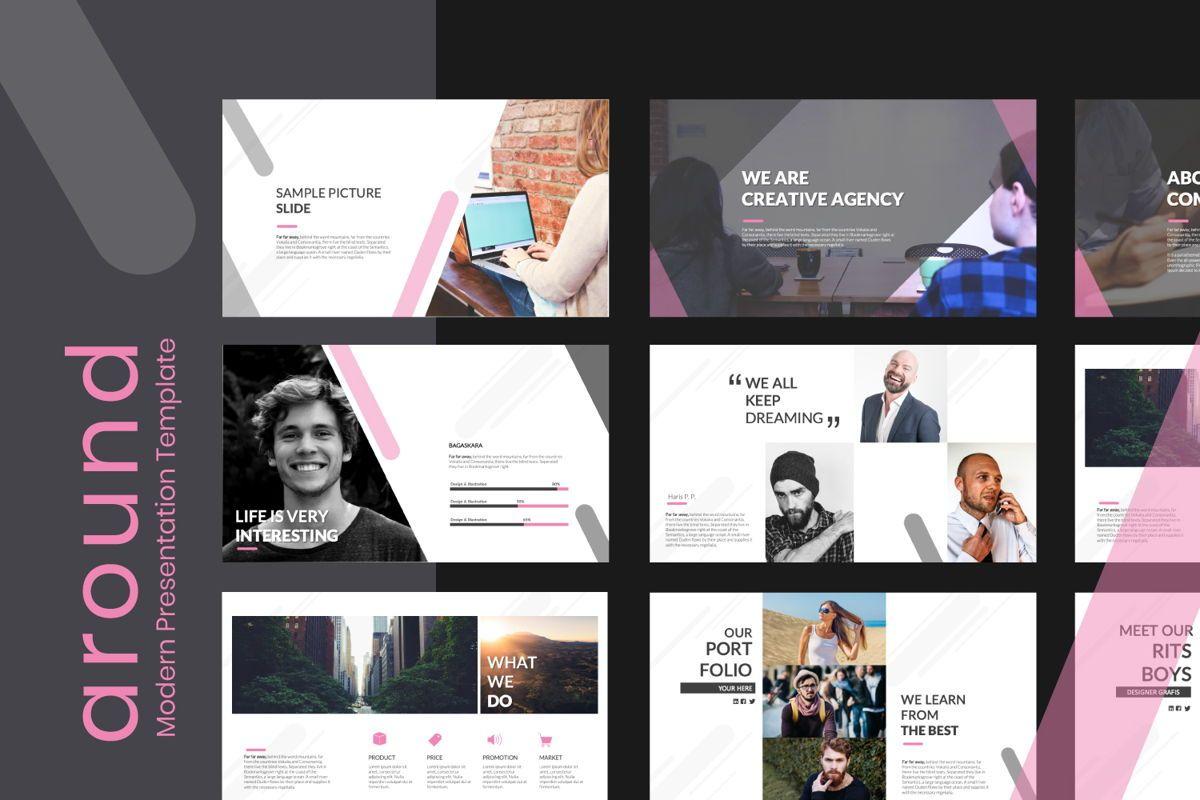 Around Business Powerpoint, 06529, Presentation Templates — PoweredTemplate.com
