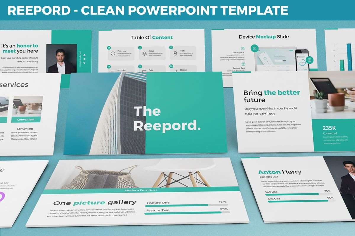 Reepord - Clean Powerpoint Template, 06531, Data Driven Diagrams and Charts — PoweredTemplate.com