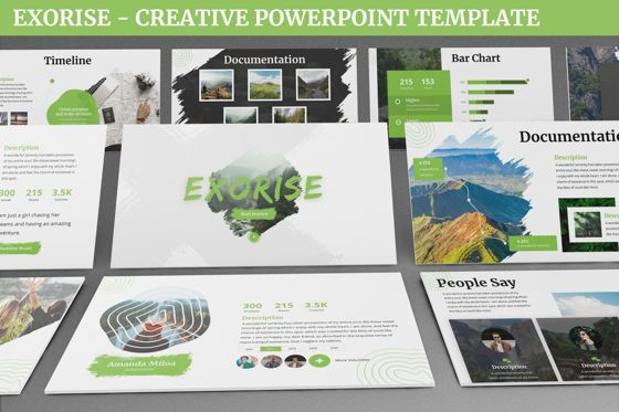 Data Driven Diagrams and Charts: Exorise - Creative Powerpoint Template #06535
