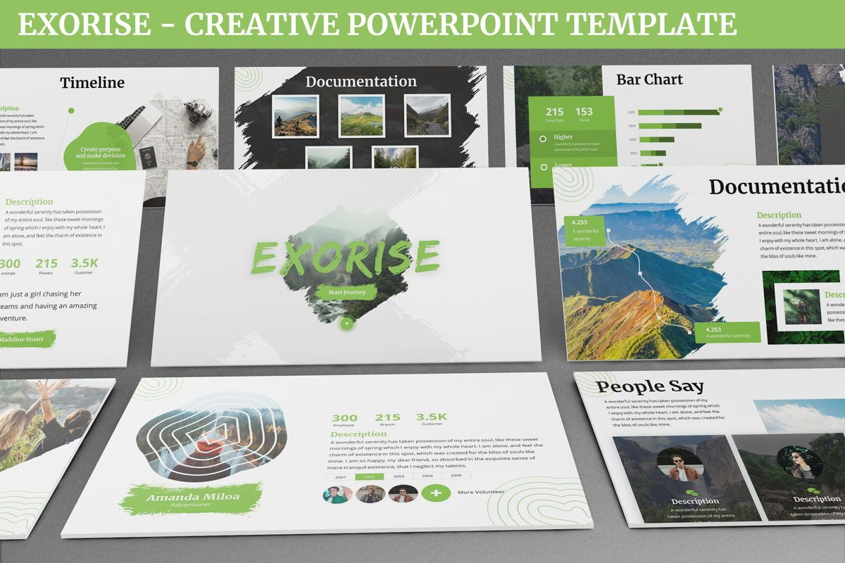 Exorise - Creative Powerpoint Template, 06535, Data Driven Diagrams and Charts — PoweredTemplate.com