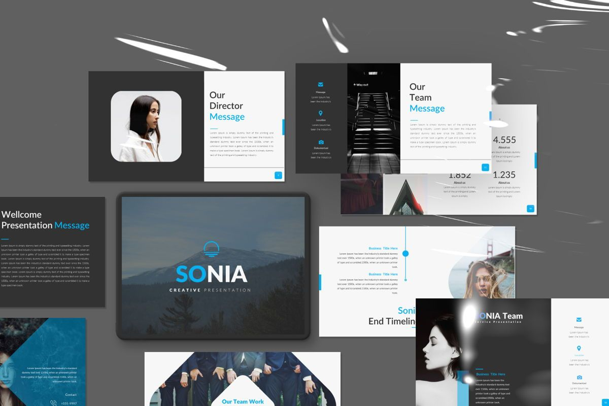 Sonia Creative Powerpoint, 06549, Presentation Templates — PoweredTemplate.com